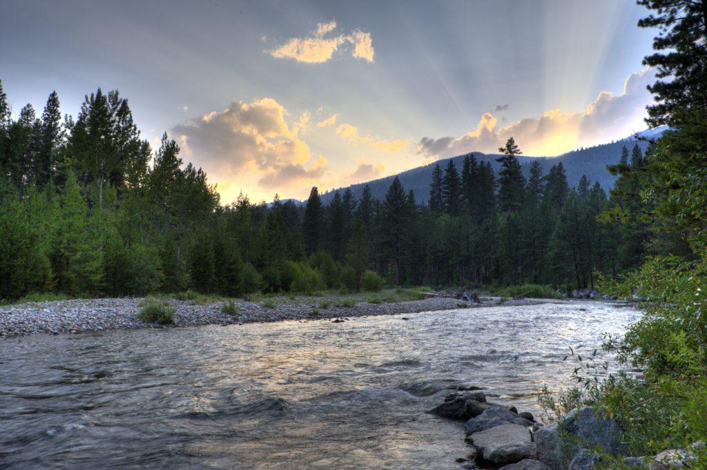 Montana Hunting Fishing Adventures Sunset over the Bitterroot River
